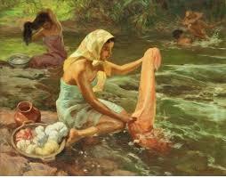 Kobieta pierze w rzece Tyber